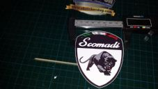1x Scomadi Badge Logo Printed Decal Sticker, Vespa innocenti mod nos vinyl WHITE